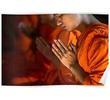Monk Praying in Temple - Bangkok, Thailand Poster