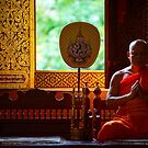 Monk Praying in Temple - Chiang Mai, Thailand by Yen Baet