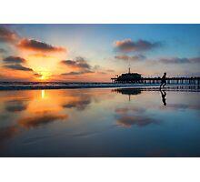 Sunset in Santa Monica Beach, California Photographic Print
