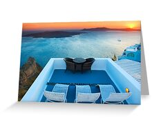 Sunset in Santorini Greece with view to Caldera Greeting Card