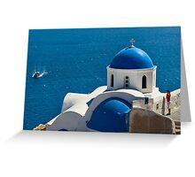 Iconic Blue and White Church in Santorini, Greece Greeting Card