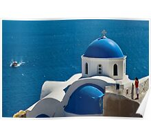 Iconic Blue and White Church in Santorini, Greece Poster