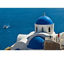 Iconic Blue and White Church in Santorini, Greece Photographic Print