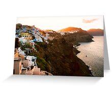 Sunrise in Beautiful Village of Santorini, Greece Greeting Card