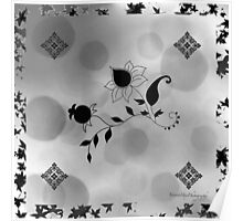 Grey Flowers Scarf Poster