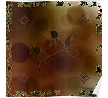 Brown Gold Flowers Scarf Poster