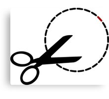 Cut here with scissors Canvas Print