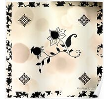 Cream Flowers Scarf Poster
