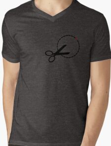 Cut here with scissors Mens V-Neck T-Shirt