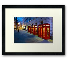 Iconic Red Telephone Boxes in Covent Garden - London, England Framed Print