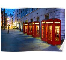 Iconic Red Telephone Boxes in Covent Garden - London, England Poster