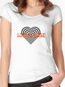 Love Heart Kiss Music Lyrics Rock Song Women's Fitted Scoop T-Shirt