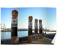 Surf Life Savers of another era, Bollards at Eastern Beach Poster