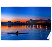 Rower at Sunrise in Salford Quays - England Poster