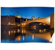 Fourviere Hill and Bonaparte Bridge - Lyon, France Poster