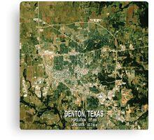 Denton Texas Map Canvas Print