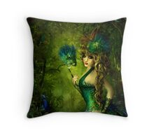 Peacock lady Throw Pillow