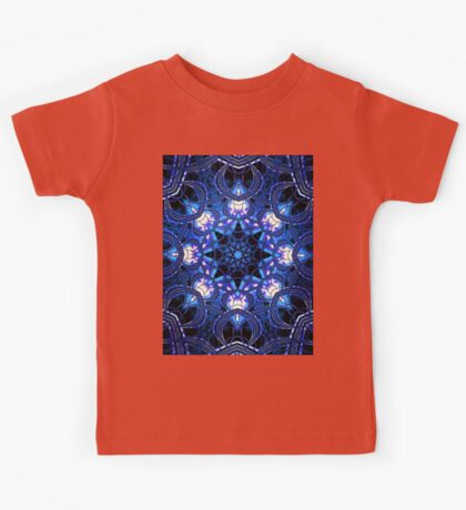 """On the Edge of Bliss"" (Blue Tones) - Geometric Abstract Mandala  Kids Tee"