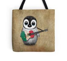 Baby Penguin Playing Mexican Flag Guitar Tote Bag