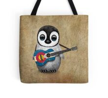 Baby Penguin Playing Colorado Flag Guitar Tote Bag