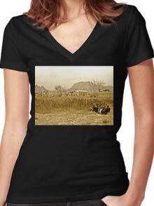 """Humanitarian Mission - Kandahar, Afghanistan"" Women's Fitted V-Neck T-Shirt"