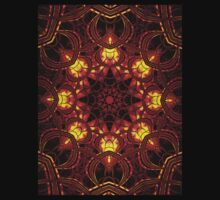 """On the Edge of Mania"" (Red Tones) - Geometric Abstract Mandala   One Piece - Short Sleeve"