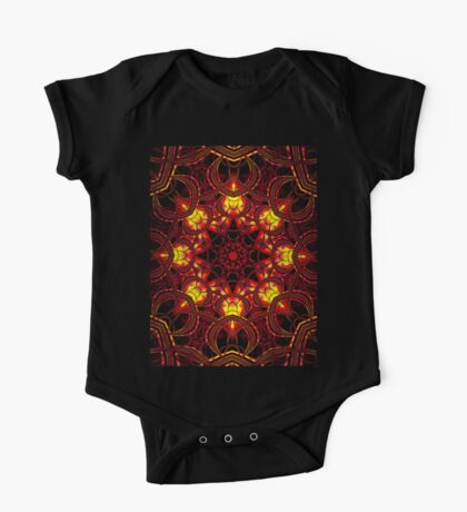 """""""On the Edge of Mania"""" (Red Tones) - Geometric Abstract Mandala   One Piece - Short Sleeve"""
