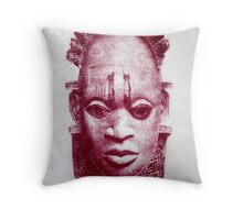 Floral Benin Mask Throw Pillow