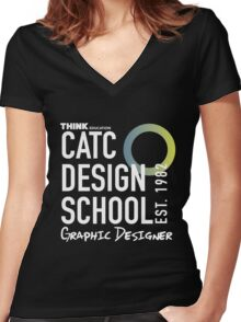 CATC Design School White Writing Women's Fitted V-Neck T-Shirt