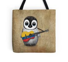 Baby Penguin Playing Colombian Flag Guitar Tote Bag