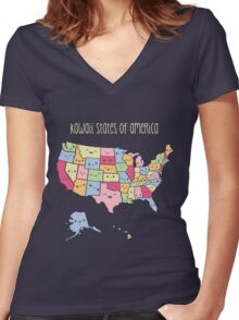 Kawaii States of America Women's Fitted V-Neck T-Shirt