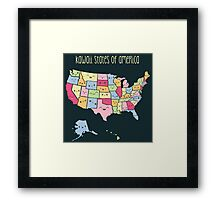 Kawaii States of America Framed Print