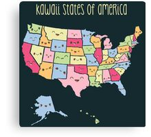 Kawaii States of America Canvas Print