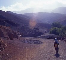Child with school bag, Atlas Morocco by Mishimoto