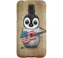 Baby Penguin Playing American Flag Guitar Samsung Galaxy Case/Skin