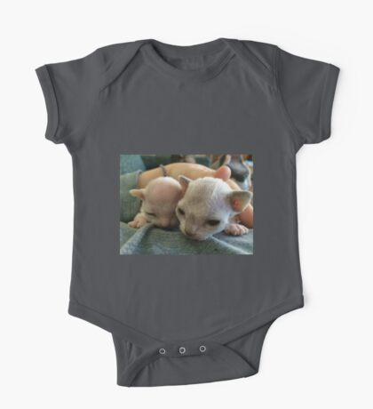 Tiny Sphynx and Rex Kittens One Piece - Short Sleeve