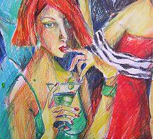 GIRL ENJOYING A DRINK by GittiArt
