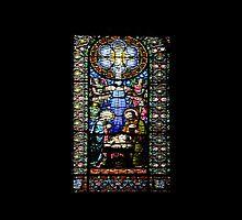 Santa Maria de Montserrat Abbey, Catalonia, Spain Stained Glass window  by PhotoStock-Isra