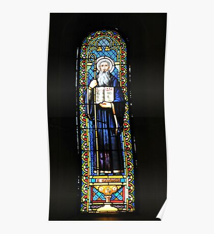 Santa Maria de Montserrat Abbey, Catalonia, Spain Stained Glass window  Poster