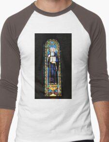 Santa Maria de Montserrat Abbey, Catalonia, Spain Stained Glass window  Men's Baseball ¾ T-Shirt