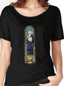 Santa Maria de Montserrat Abbey, Catalonia, Spain Stained Glass window  Women's Relaxed Fit T-Shirt