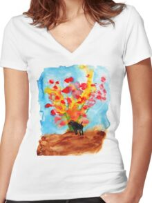 Black dog with Blooming Spring Tree Women's Fitted V-Neck T-Shirt