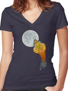 Rocket Buddha Women's Fitted V-Neck T-Shirt