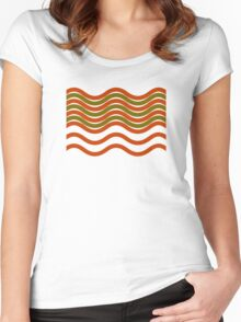 Waves Red Olive Green Women's Fitted Scoop T-Shirt