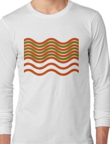 Waves Red Olive Green Black Long Sleeve T-Shirt