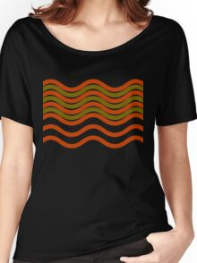 Waves Red Olive Green Black Women's Relaxed Fit T-Shirt