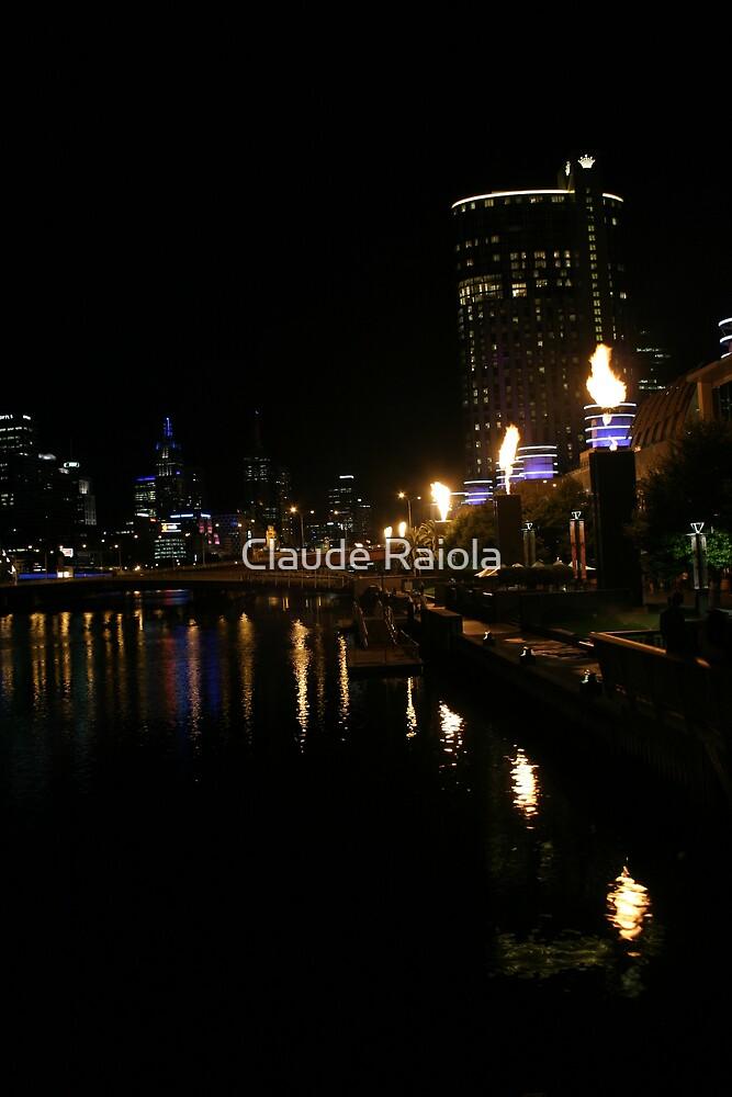Melbourne Australia: Yarra River Crown Casino Roman Candles by Claude Raiola