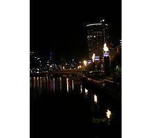 Melbourne Australia: Yarra River Crown Casino Roman Candles Photographic Print