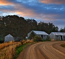 Pickers huts at sunset by Chris Cobern