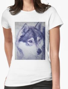 Beautiful husky dog portrait Womens Fitted T-Shirt